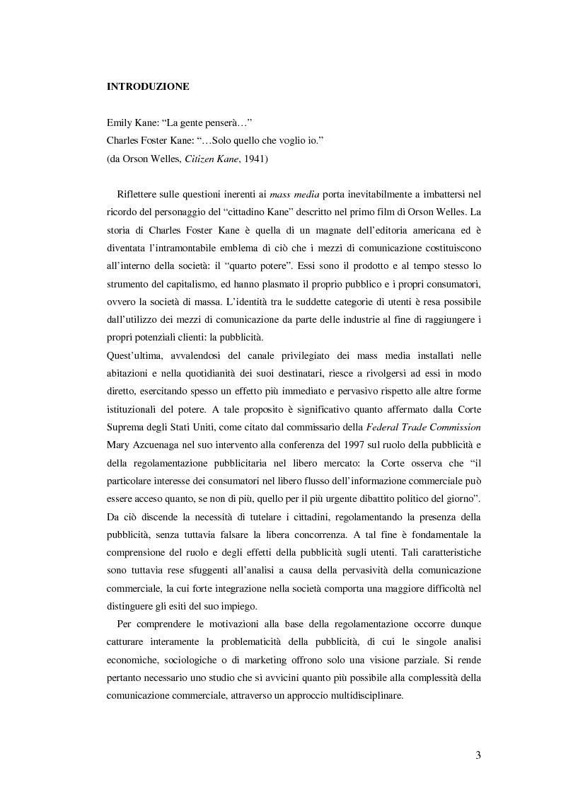 La normativa pubblicitaria sui mezzi di comunicazione: limiti di affollamento e confronto internazionale - Tesi di Laure...