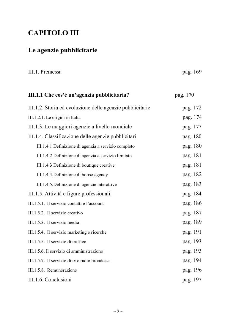 Indice della tesi: L'engagement del consumatore verso la marca:la prospettiva del mercato della comunicazione., Pagina 5