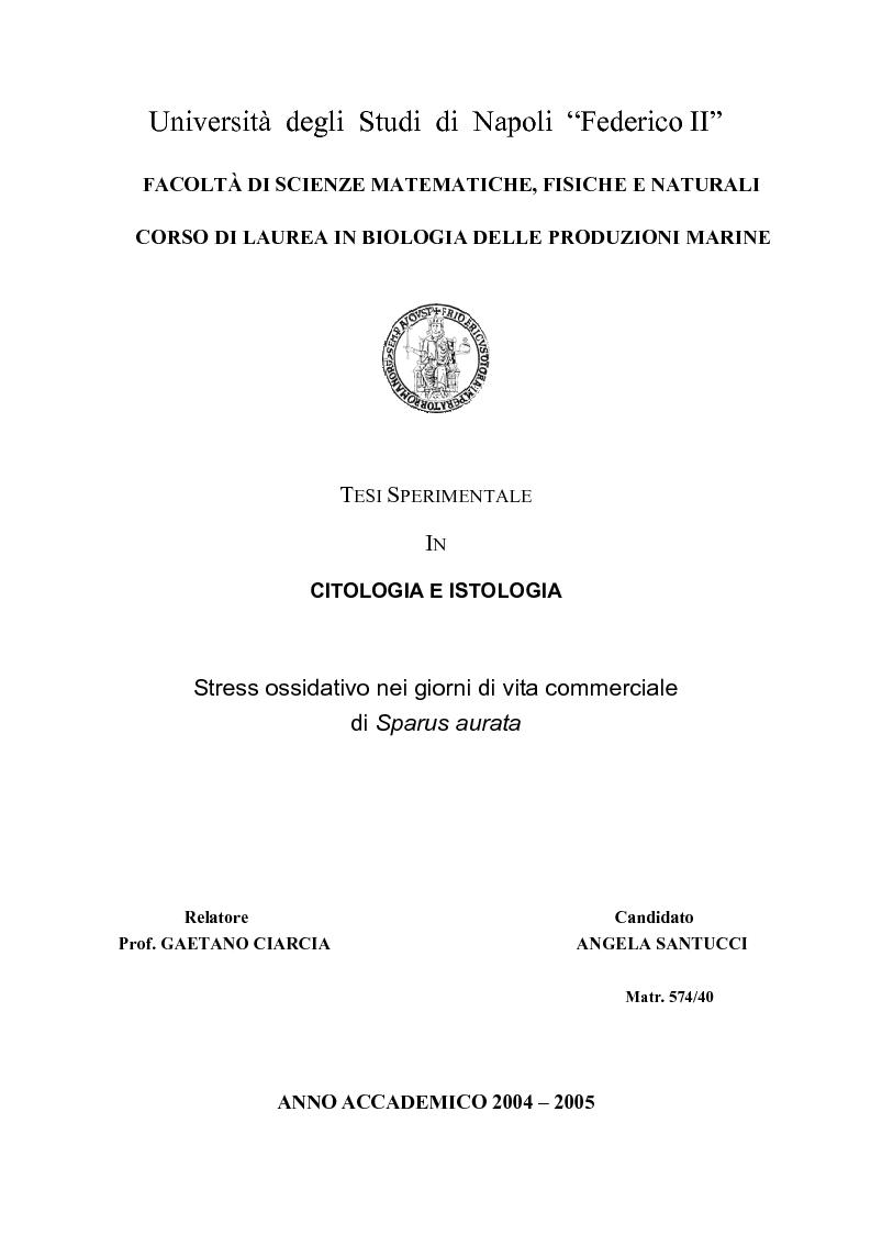 Anteprima della tesi: Stress ossidativo nei giorni di vita commerciale di Sparus aurata, Pagina 1