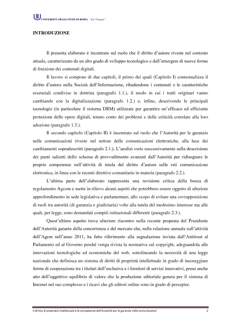 Il diritto di propriet� intellettuale e le competenze dell'Autorit� per le garanzie nelle comunicazioni - Tesi di Laurea
