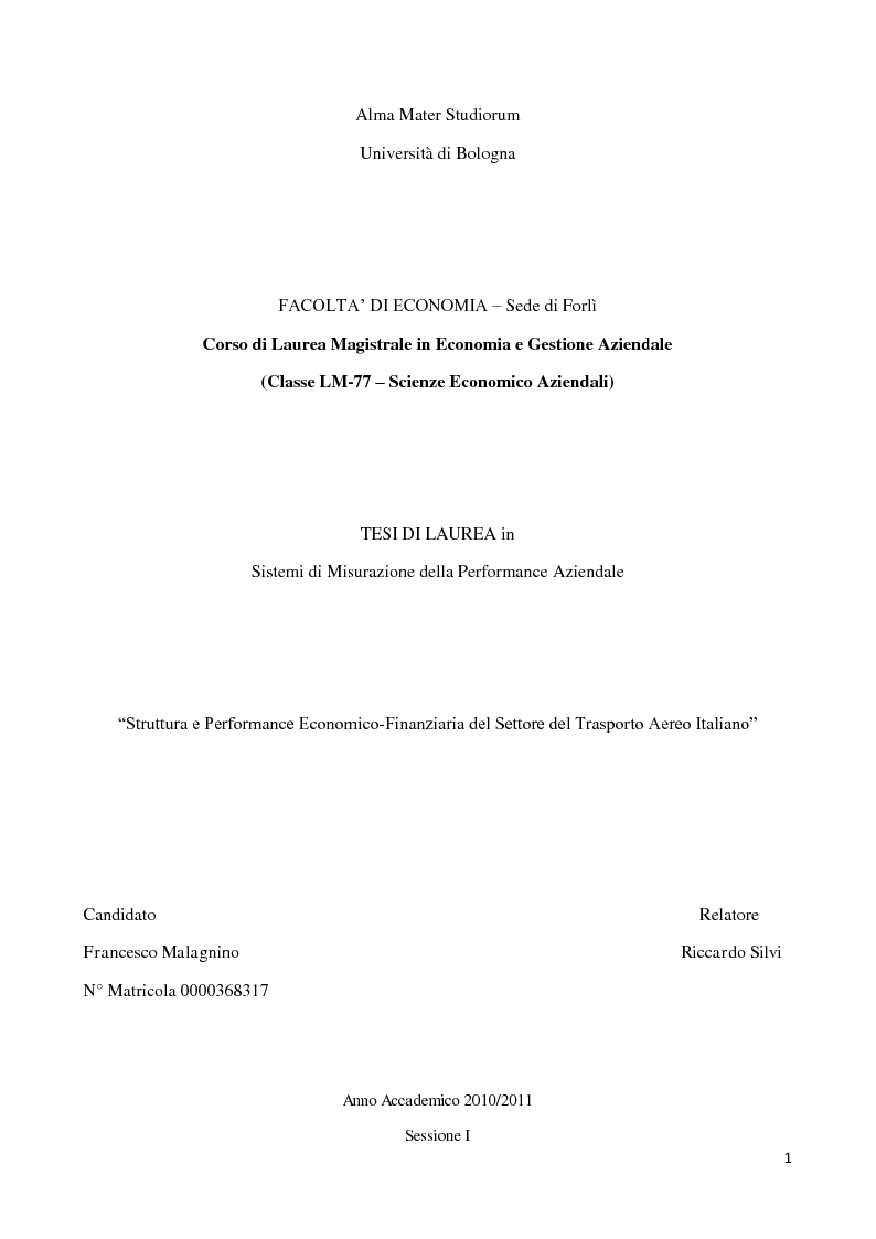 Anteprima tesi struttura e performance economico for Laurea magistrale design