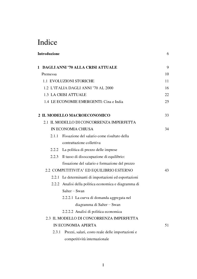 Indice della tesi: Inflazione importata, distribuzione del reddito ed equilibrio macroeconomico: effetti del nuovo modello contrattuale, Pagina 1