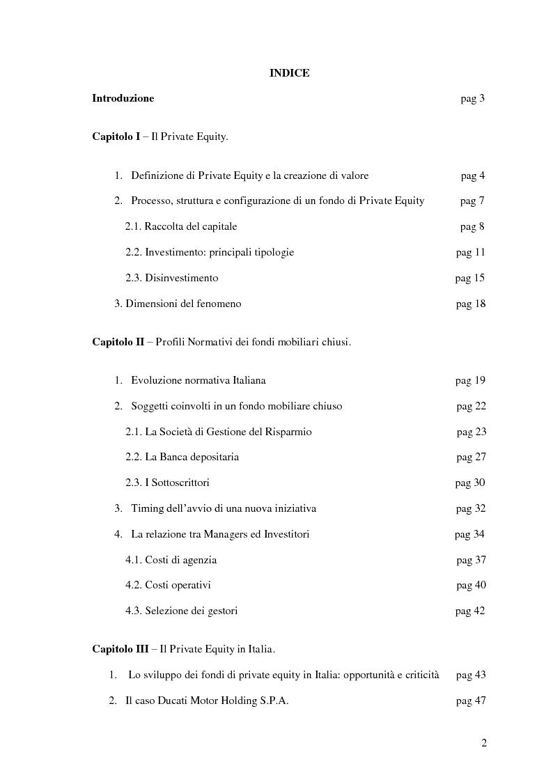 Indice della tesi: I fondi chiusi di Private Equity: definizione e profili normativi, Pagina 1