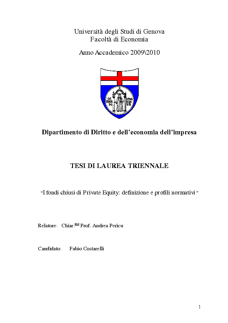Anteprima della tesi: I fondi chiusi di Private Equity: definizione e profili normativi, Pagina 1