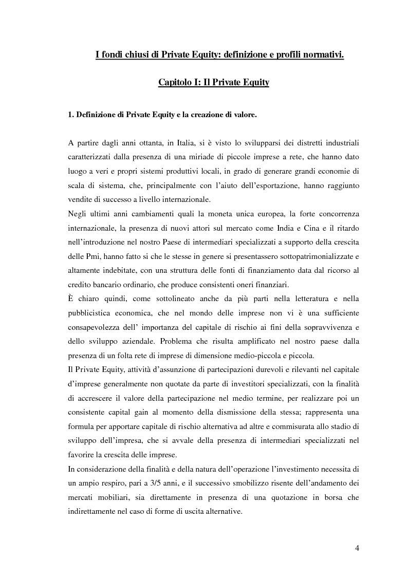 Anteprima della tesi: I fondi chiusi di Private Equity: definizione e profili normativi, Pagina 2