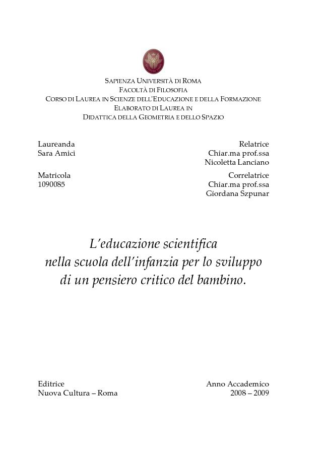Anteprima della tesi: L'educazione scientifica nella scuola dell'infanzia per lo sviluppo del pensiero critico del bambino, Pagina 1