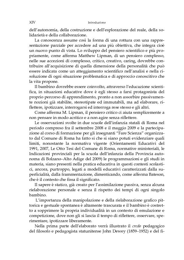 Anteprima della tesi: L'educazione scientifica nella scuola dell'infanzia per lo sviluppo del pensiero critico del bambino, Pagina 3