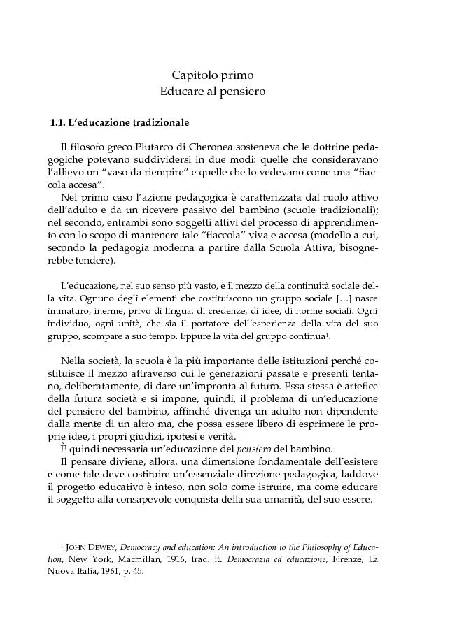 Anteprima della tesi: L'educazione scientifica nella scuola dell'infanzia per lo sviluppo del pensiero critico del bambino, Pagina 6