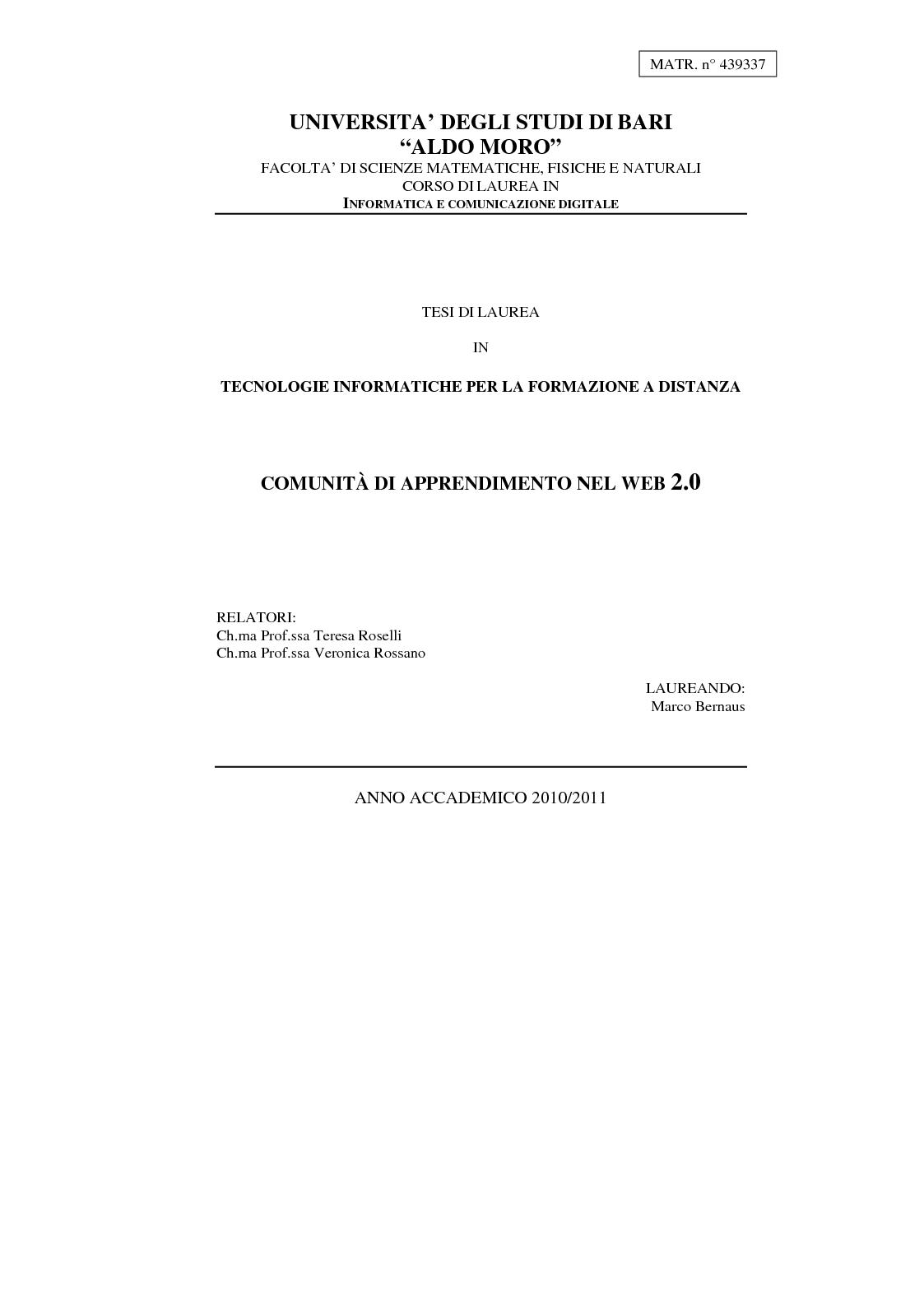 Anteprima della tesi: Comunità di Apprendimento nel Web 2.0, Pagina 1