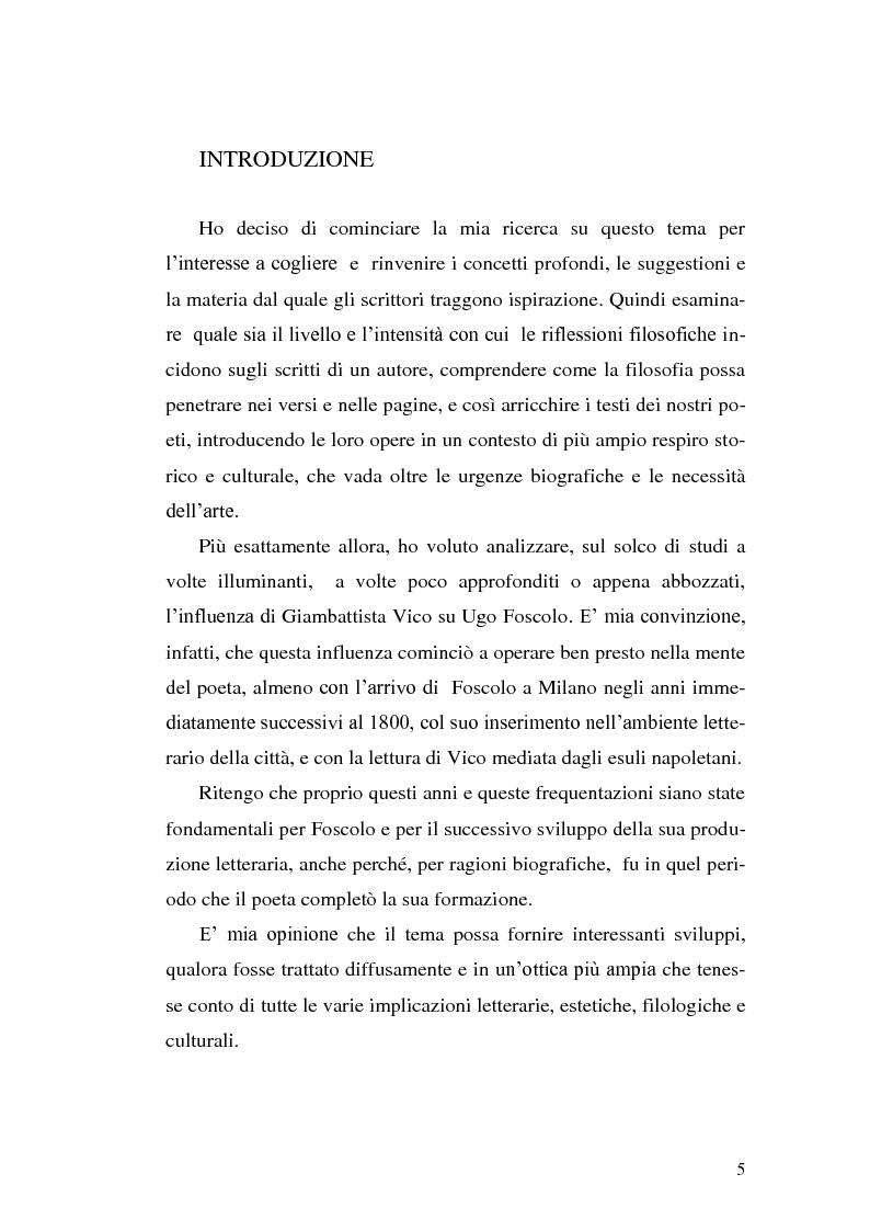 L'influenza di Giambattista Vico sul ''liber'uomo'' Ugo Foscolo - Tesi di Laurea