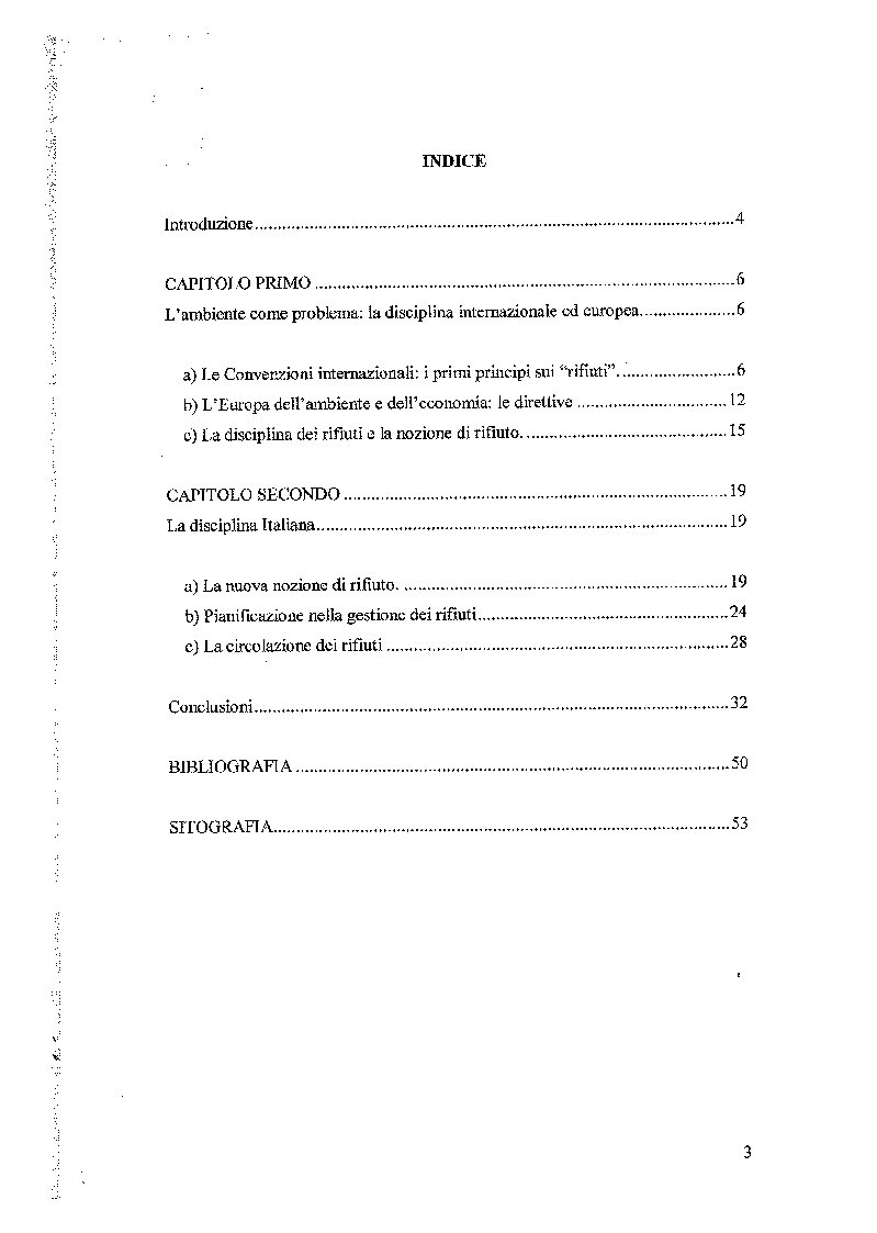 Indice della tesi: Principi generali della disciplina dei rifiuti, Pagina 1