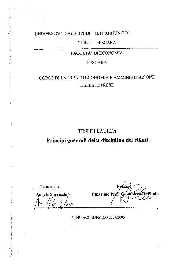 Anteprima della tesi: Principi generali della disciplina dei rifiuti, Pagina 1
