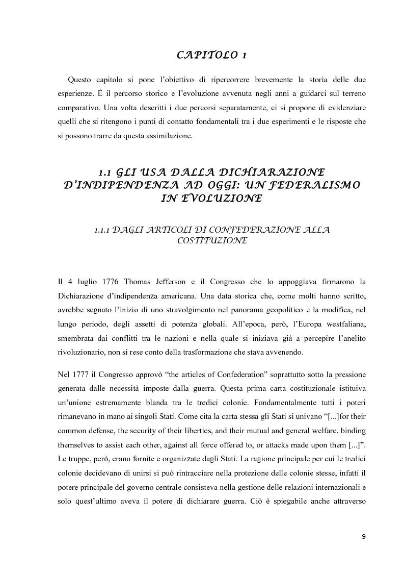 Il Federalismo Americano e l'esperienza dell'integrazione Europea. Due esperimenti a confronto - Tesi di Laurea