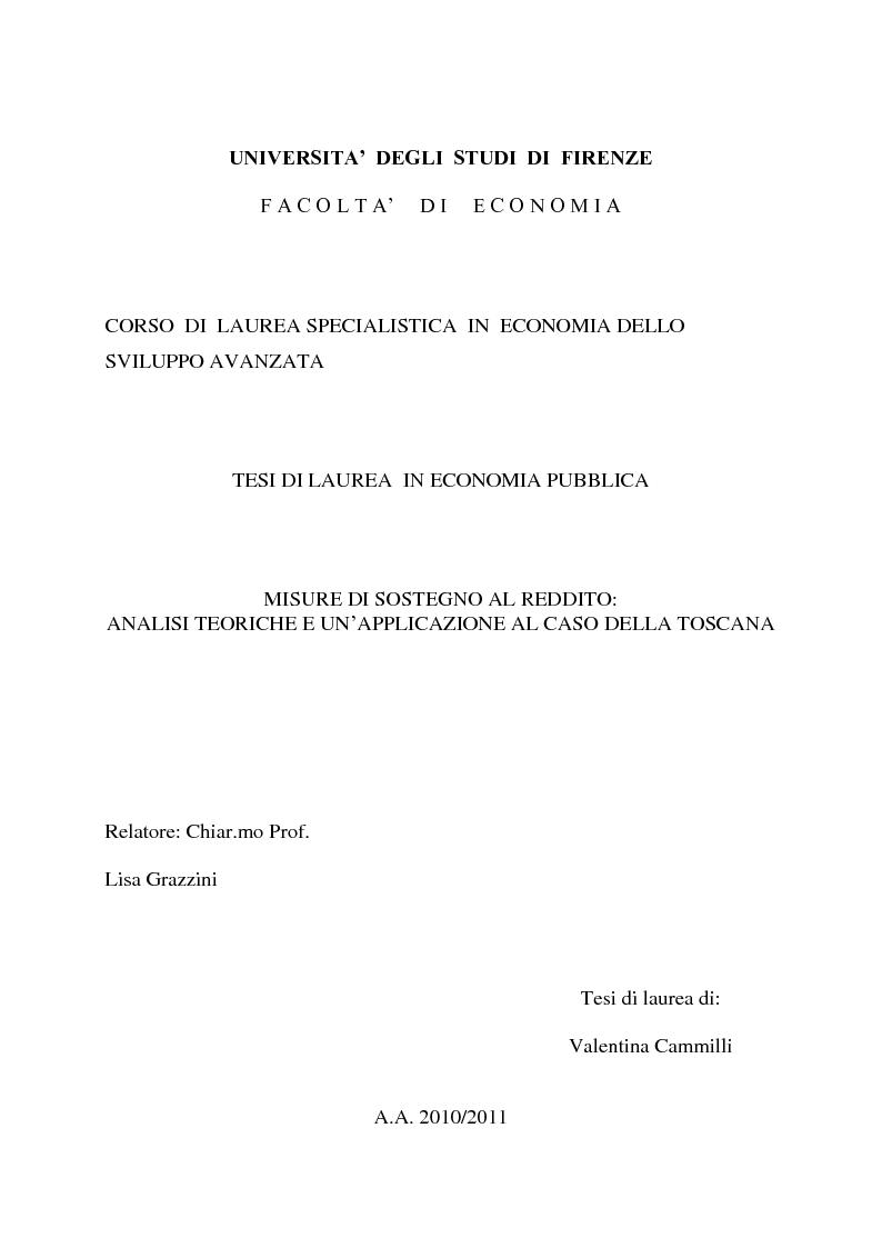Anteprima della tesi: Misure di sostegno al reddito: analisi teoriche e un'applicazione al caso della Toscana, Pagina 1