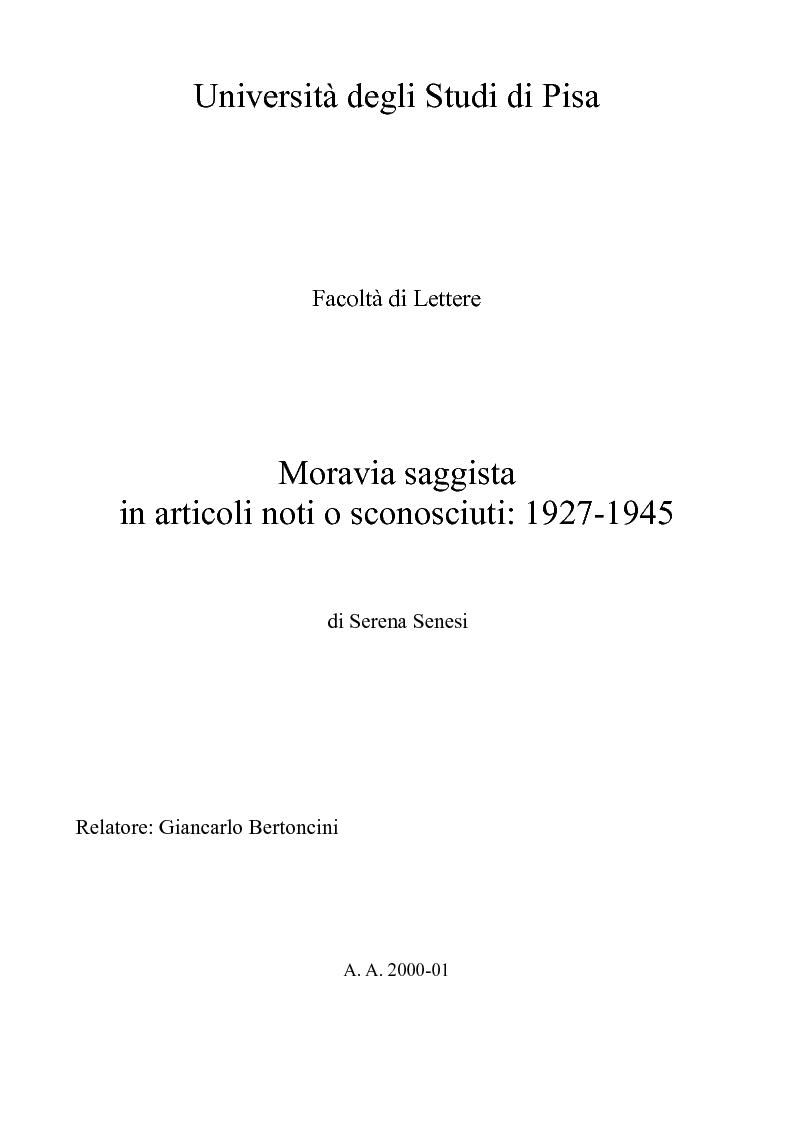 Anteprima della tesi: Moravia saggista in articoli noti o sconosciuti: 1927-1945, Pagina 1