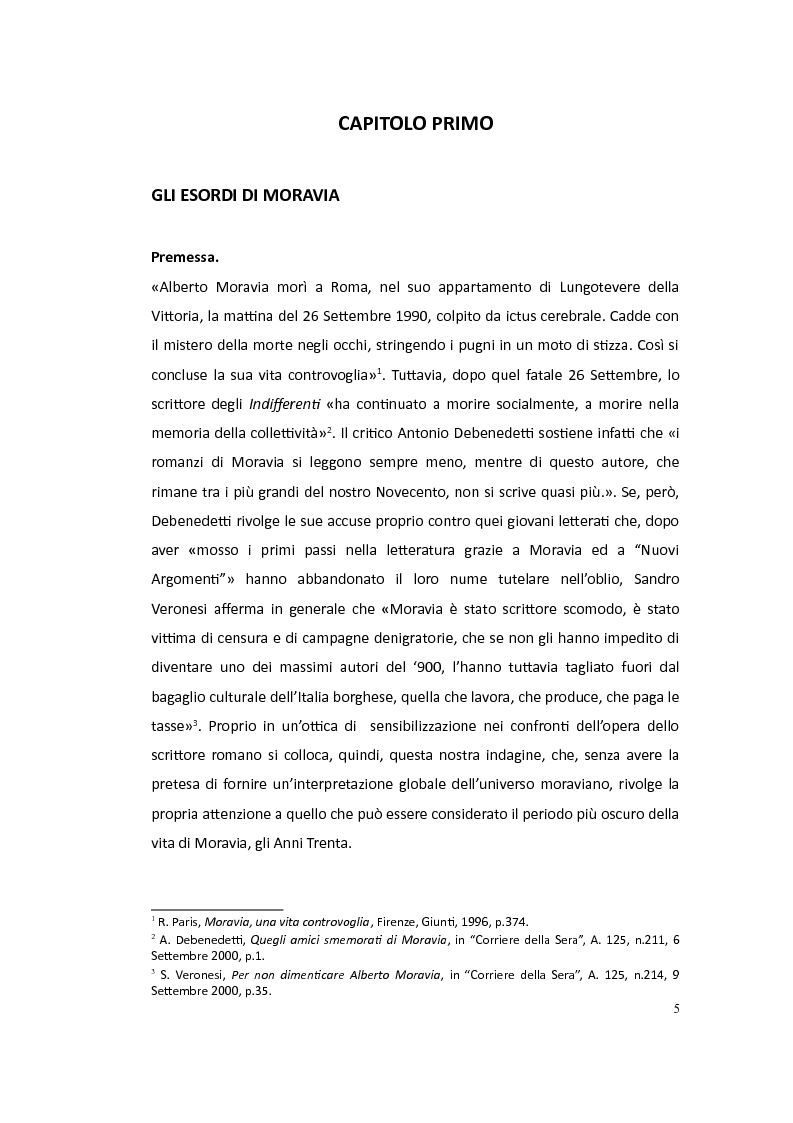 Anteprima della tesi: Moravia saggista in articoli noti o sconosciuti: 1927-1945, Pagina 2
