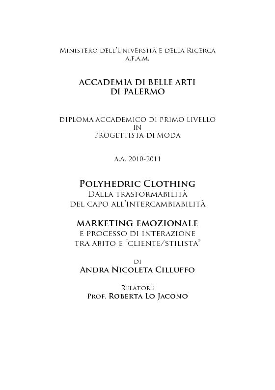 Accademia di belle arti di palermo diploma accademico di for Accademia belle arti moda