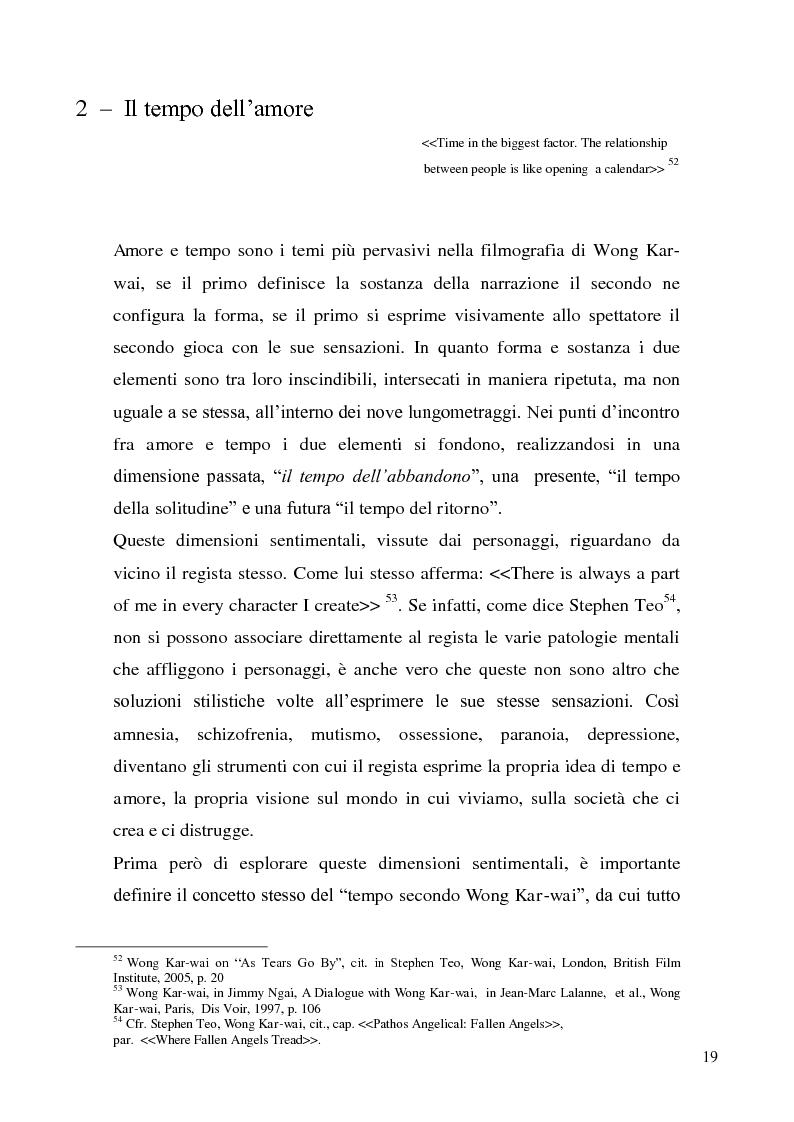 Estratto dalla tesi: Il tempo dell'amore nei film di Wong Kar-wai