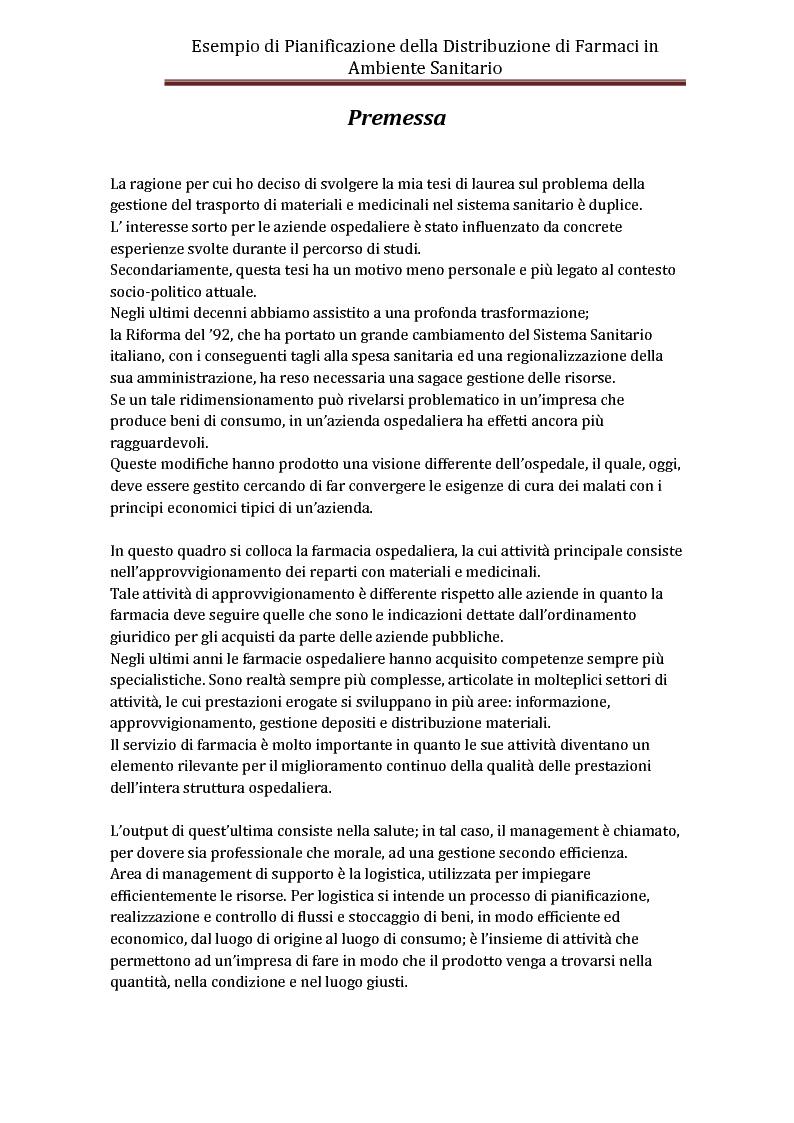 Esempio di pianificazione della distribuzione di farmaci for Simulazione test laurea magistrale infermieristica