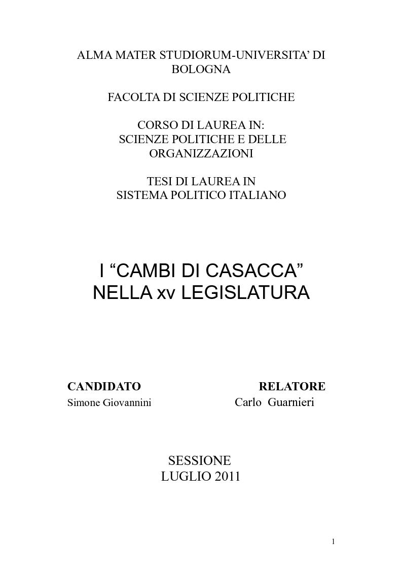 Anteprima della tesi: I ''cambi di casacca'' nella XV legislatura, Pagina 1