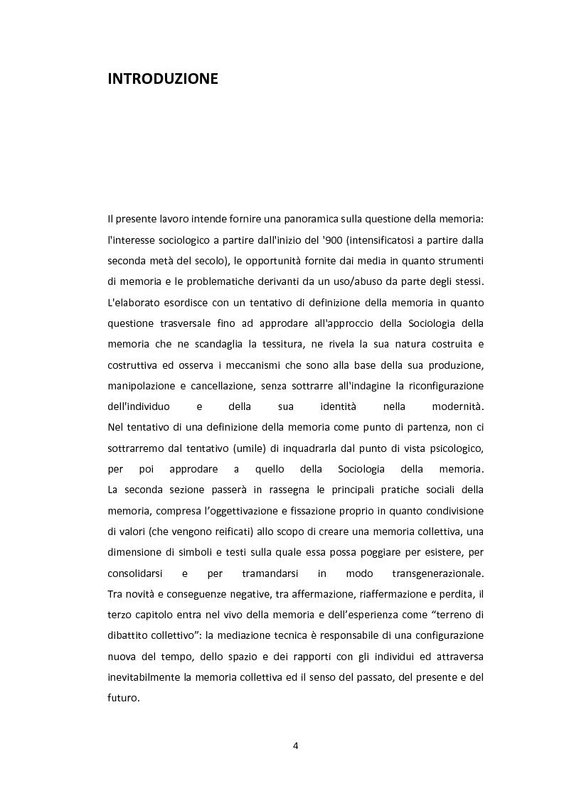 Media e memoria. Considerazioni sul ricordo e sull'oblio nella modernit�. - Tesi di Laurea