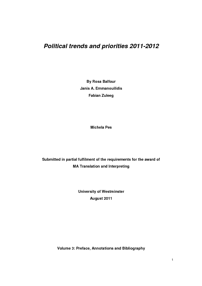 Anteprima della tesi: ''Priorità e tendenze politiche per il 2011-2012'', Pagina 1