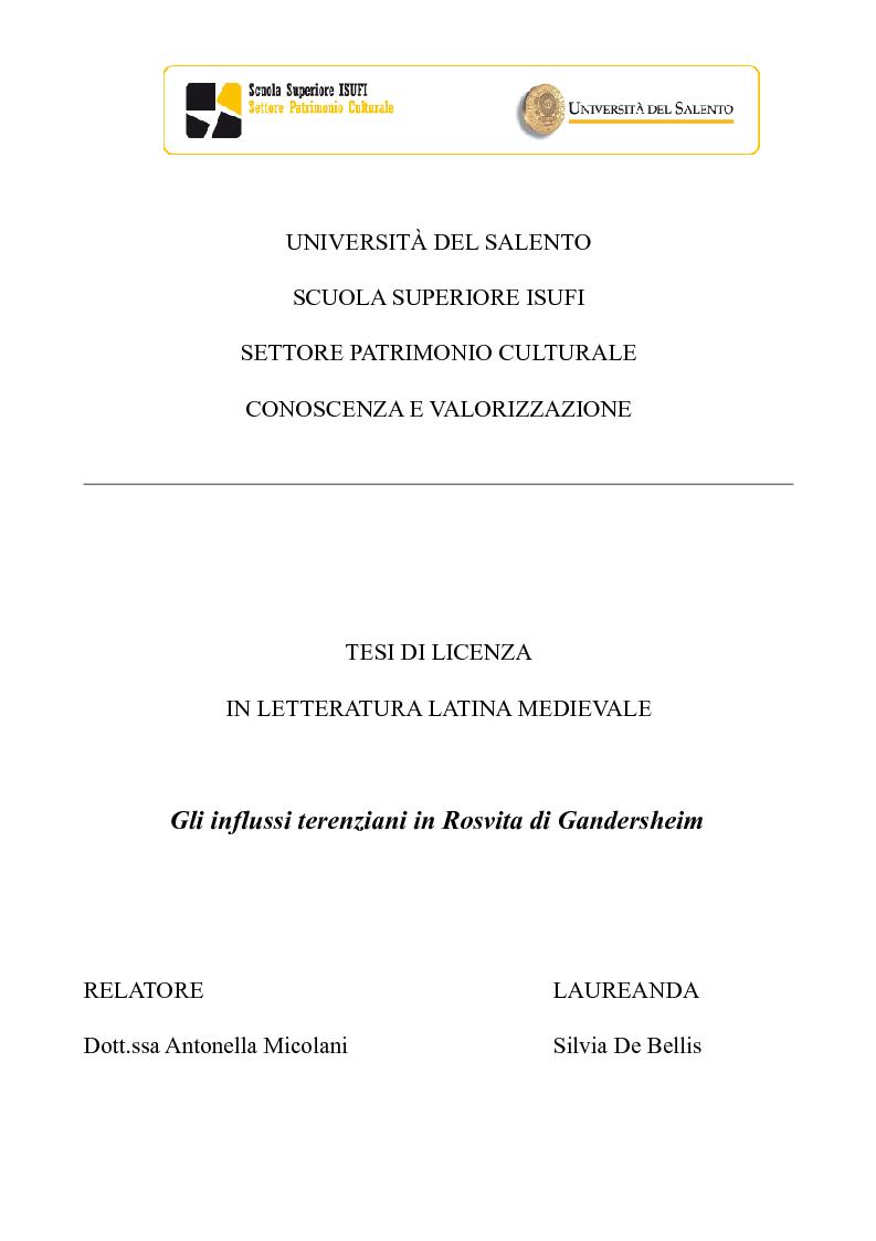 Anteprima della tesi: Gli influssi terenziani in Rosvita di Gandersheim, Pagina 1