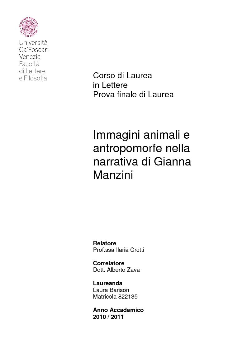 Anteprima della tesi: Immagini animali e antropomorfe nella narrativa di Gianna Manzini, Pagina 1