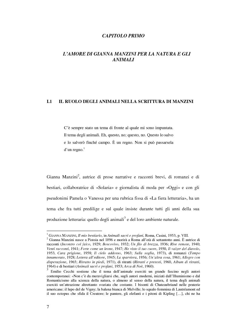 Anteprima della tesi: Immagini animali e antropomorfe nella narrativa di Gianna Manzini, Pagina 6