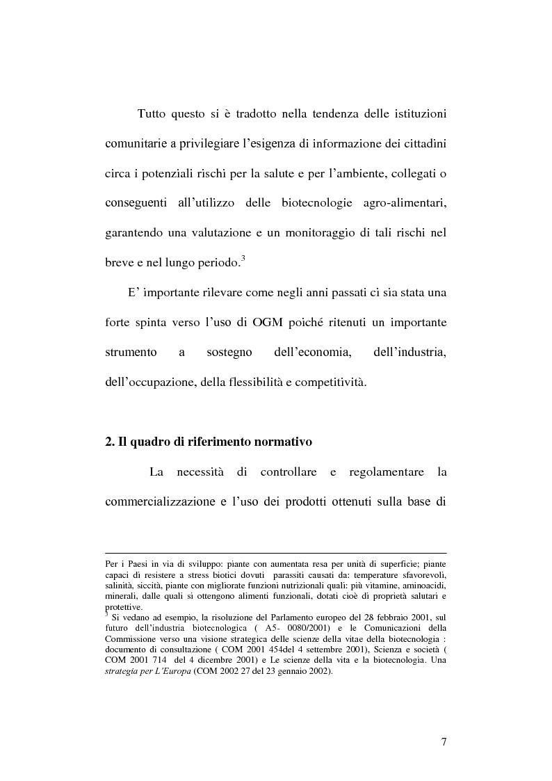 Anteprima della tesi: La disciplina giuridica degli Organismi Geneticamente Modificati: tra diritto dell'Unione Europea e diritto interno, Pagina 8