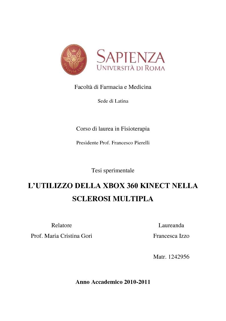 Anteprima della tesi: L'utilizzo della XBOX 360 Kinect nella Sclerosi Multipla, Pagina 1