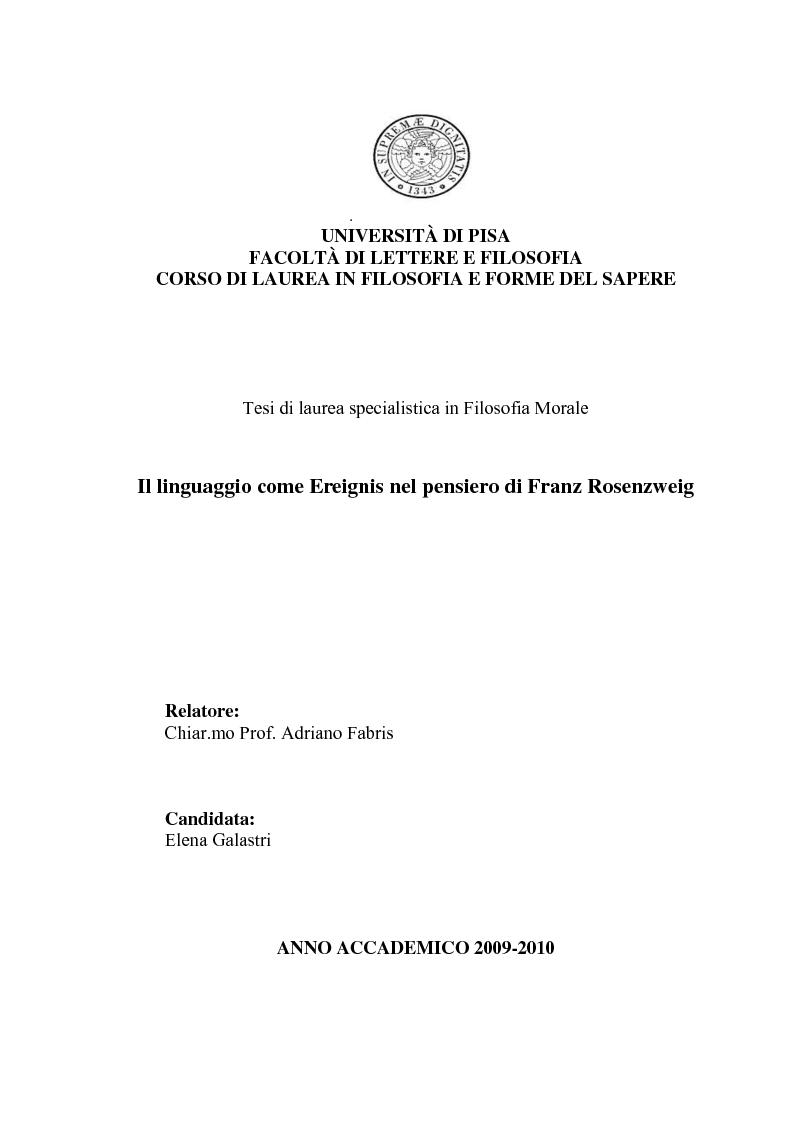 Anteprima della tesi: Il linguaggio come Ereignis nel pensiero di Franz Rosenzweig, Pagina 1