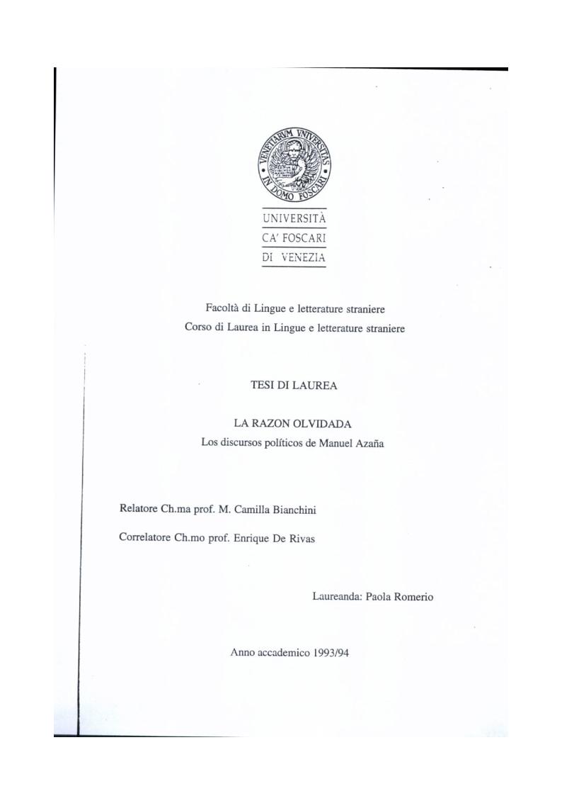 Anteprima della tesi: La razon olvidada - Los discursos políticos de Manuel Azaña, Pagina 1