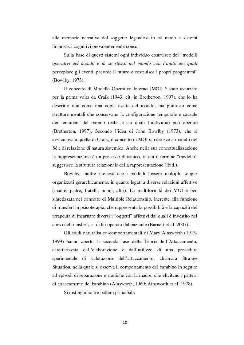 Anteprima della tesi: Attaccamento e Mentalizzazione nella Relazione Terapeutica: I Dati della Ricerca Empirica, Pagina 11