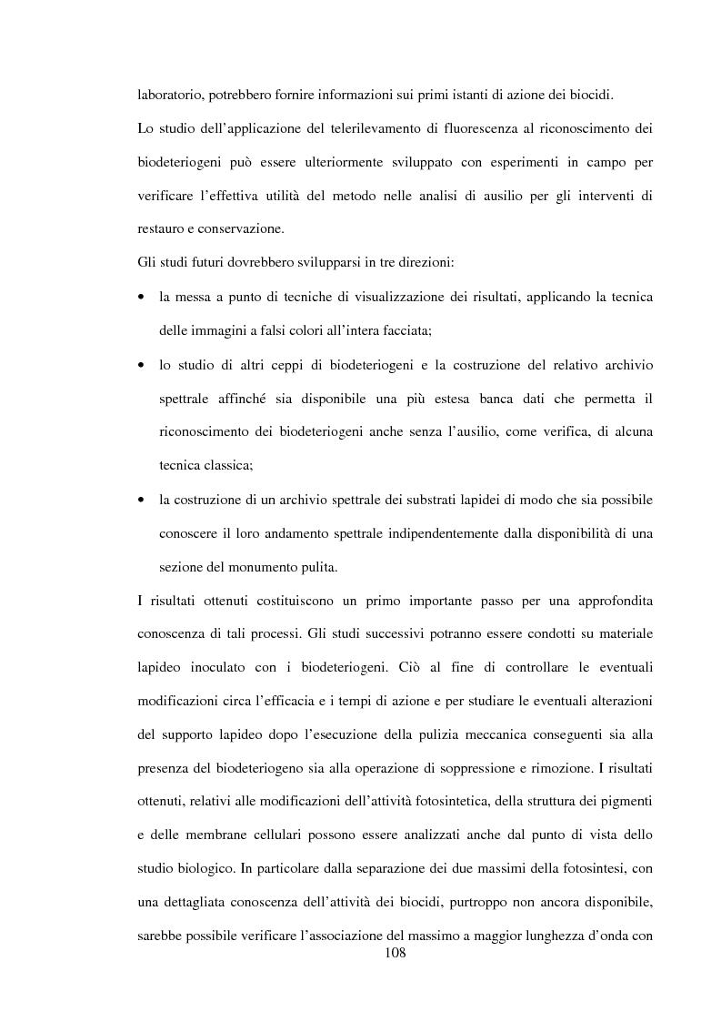 Anteprima della tesi: La fluorescenza indotta da laser nei biodeteriogeni e la sua applicazione al telerilevamento lidar dei monumenti lapidei, Pagina 9