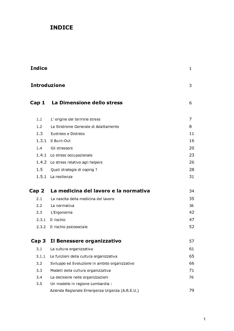Indice della tesi: La dimensione dello stress nel personale sanitario impegnato nel dispatch telefonico nelle A.A.T. 118 Lombarde: ricerca di un modello di supporto, Pagina 1