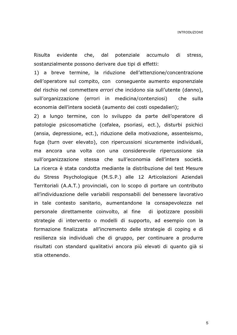 Anteprima della tesi: La dimensione dello stress nel personale sanitario impegnato nel dispatch telefonico nelle A.A.T. 118 Lombarde: ricerca di un modello di supporto, Pagina 4