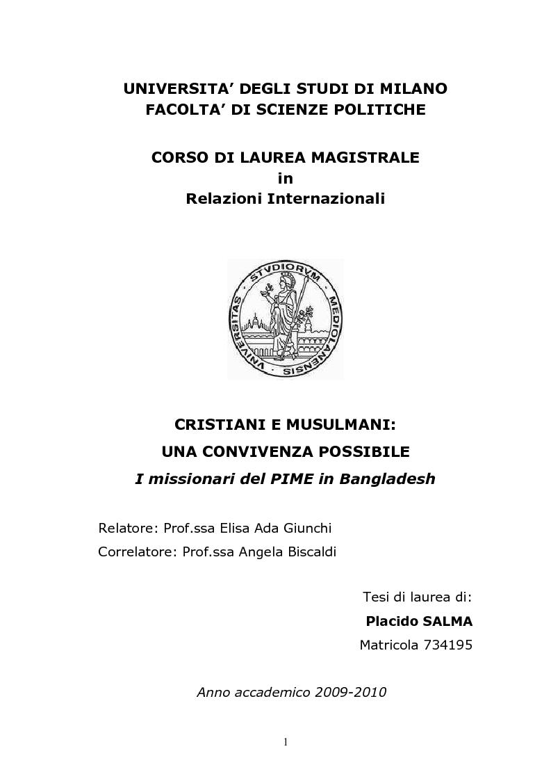 Anteprima della tesi: Cristiani e musulmani: una convivenza possibile, Pagina 1