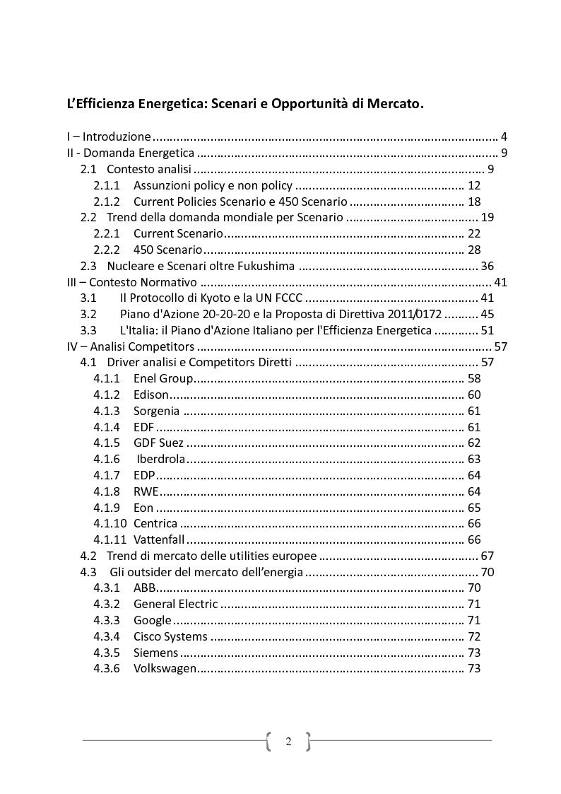Indice della tesi: L'Efficiente Energetica: Scenari ed Opportunità di Mercato, Pagina 1