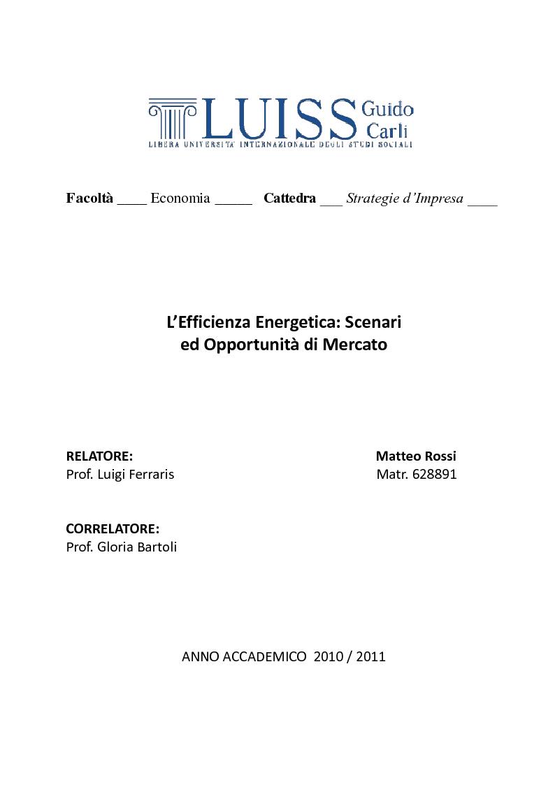 Anteprima della tesi: L'Efficiente Energetica: Scenari ed Opportunità di Mercato, Pagina 1