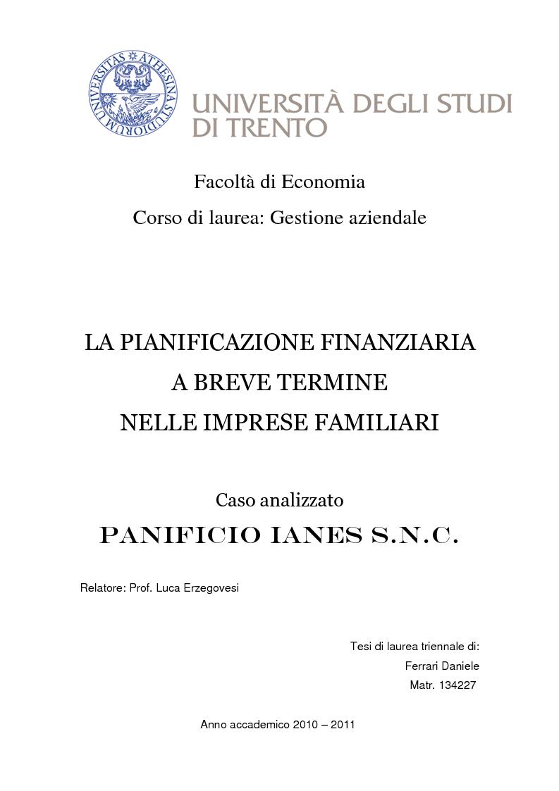 Anteprima della tesi: La pianificazione finanziaria a breve termine nelle imprese familiari, Pagina 1