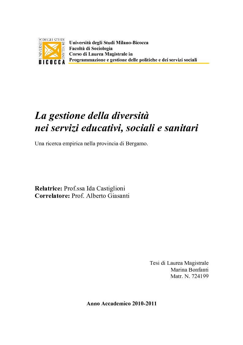Universit degli studi milano bicocca facolt di for Programmazione e gestione dei servizi educativi