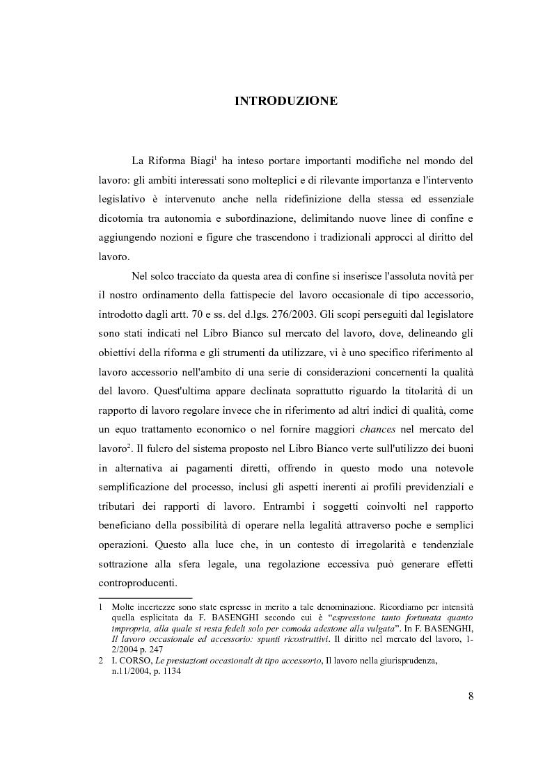 Il lavoro accessorio nel diritto del lavoro italiano e comparato - Tesi di Laurea