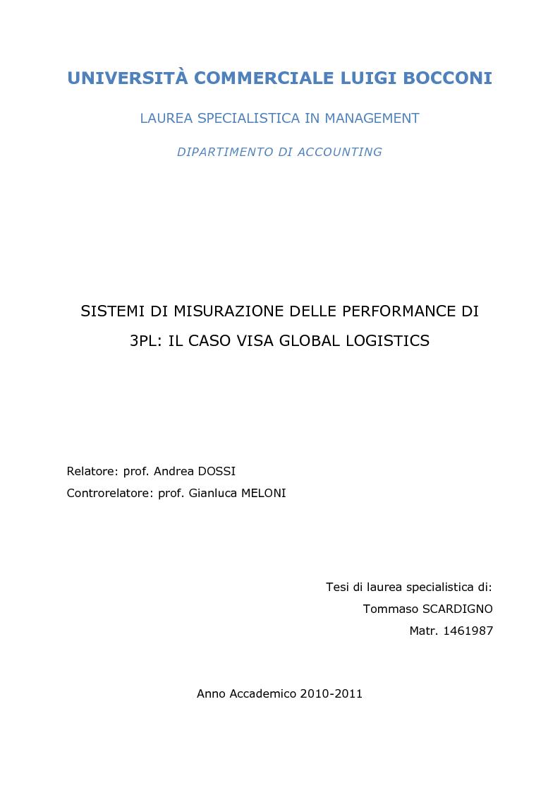 Anteprima della tesi: Sistemi di misurazione delle performance di 3PL: il caso VISA Global Logistics, Pagina 1