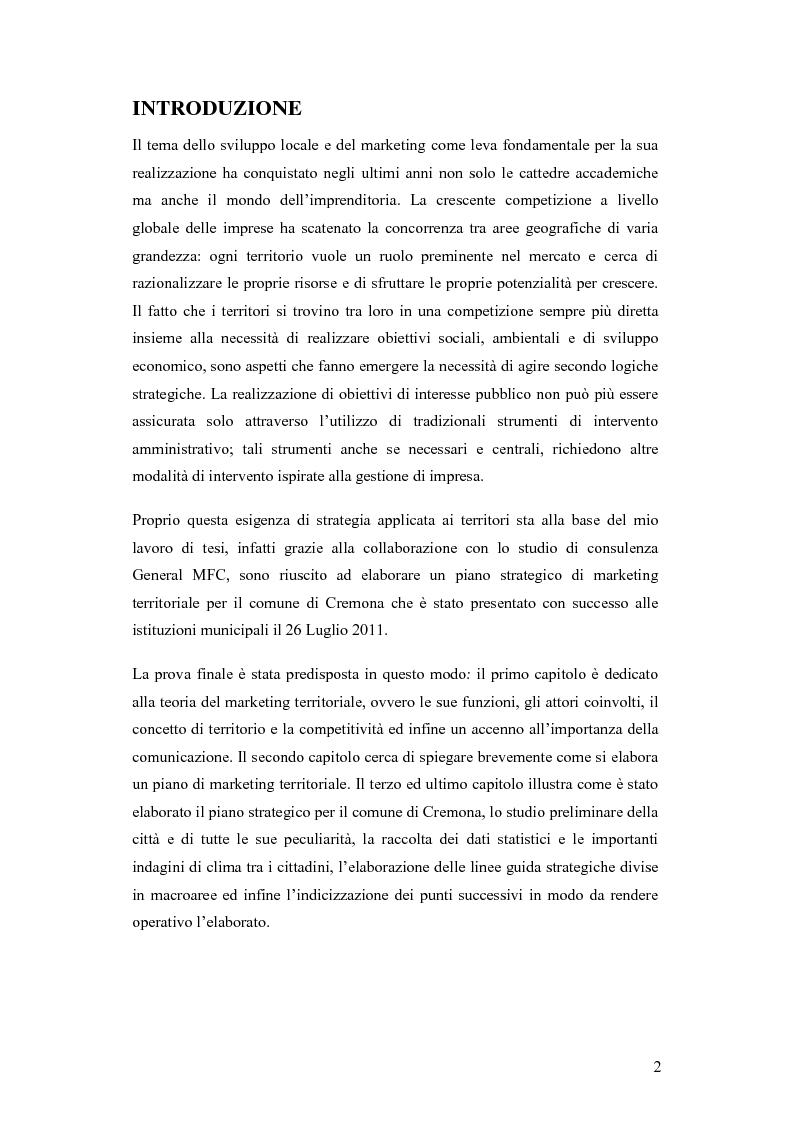 Il marketing territoriale, elaborazione di un piano strategico per il comune di Cremona - Tesi di Laurea
