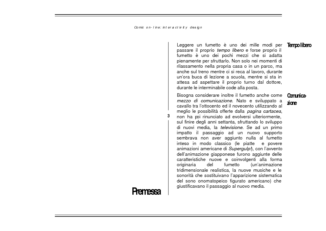 Anteprima della tesi: Comic On-Line: Interactivity Design, Pagina 1