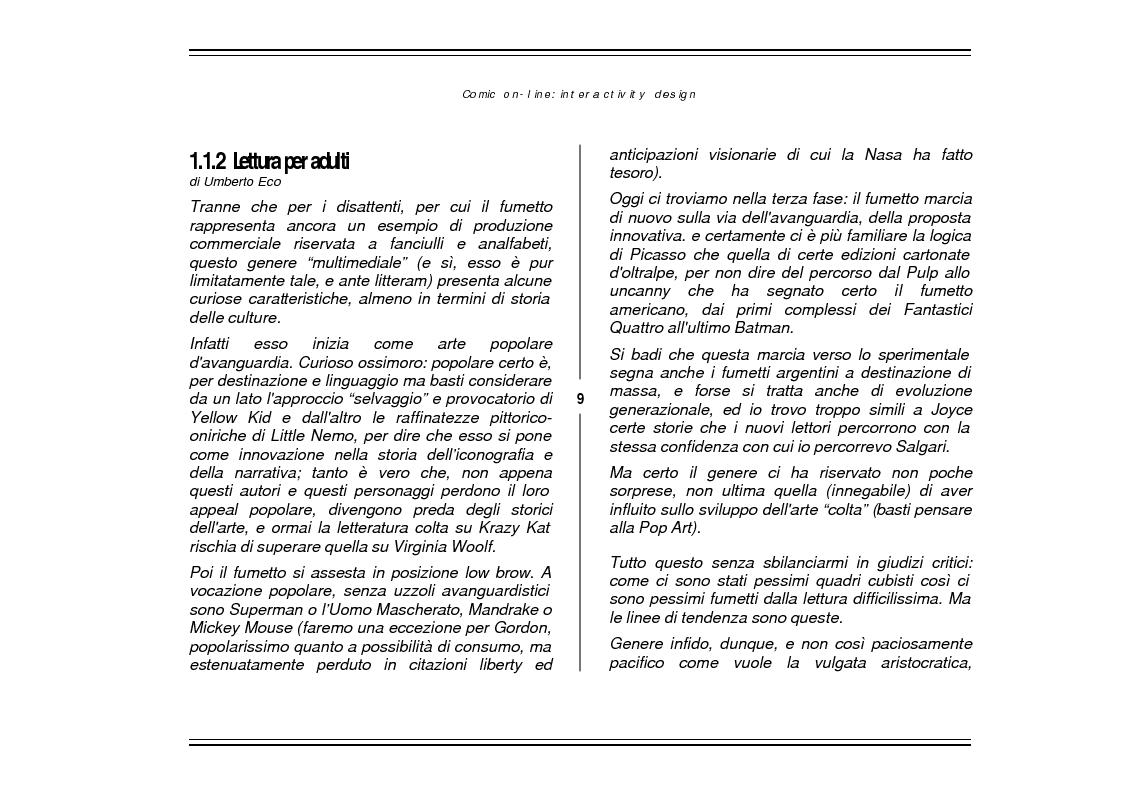 Anteprima della tesi: Comic On-Line: Interactivity Design, Pagina 7