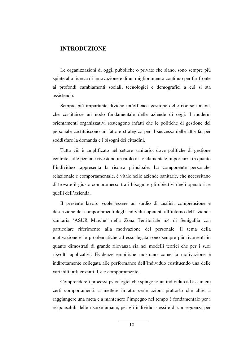 La motivazione del personale nel comparto sanitario: ASUR Marche- zona territoriale di Senigallia - Tesi di Laurea