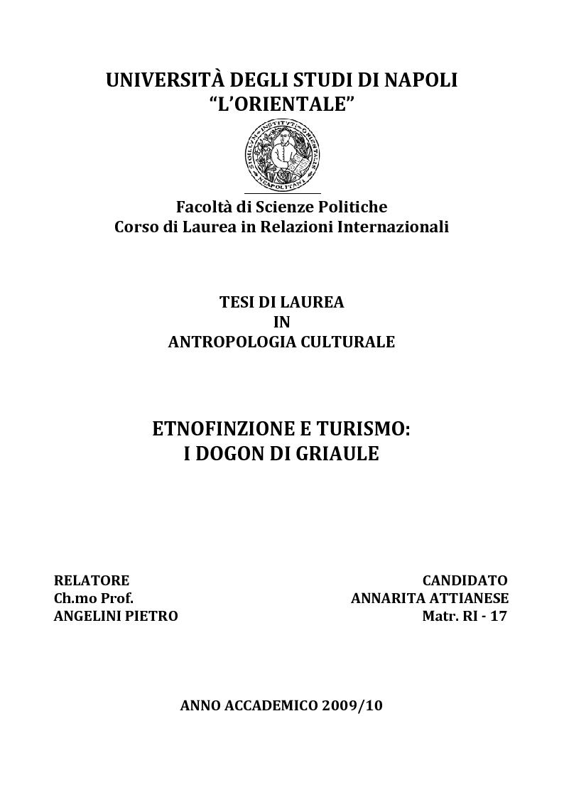 Anteprima della tesi: Etnofinzione e turismo: i Dogon di Griaule, Pagina 1