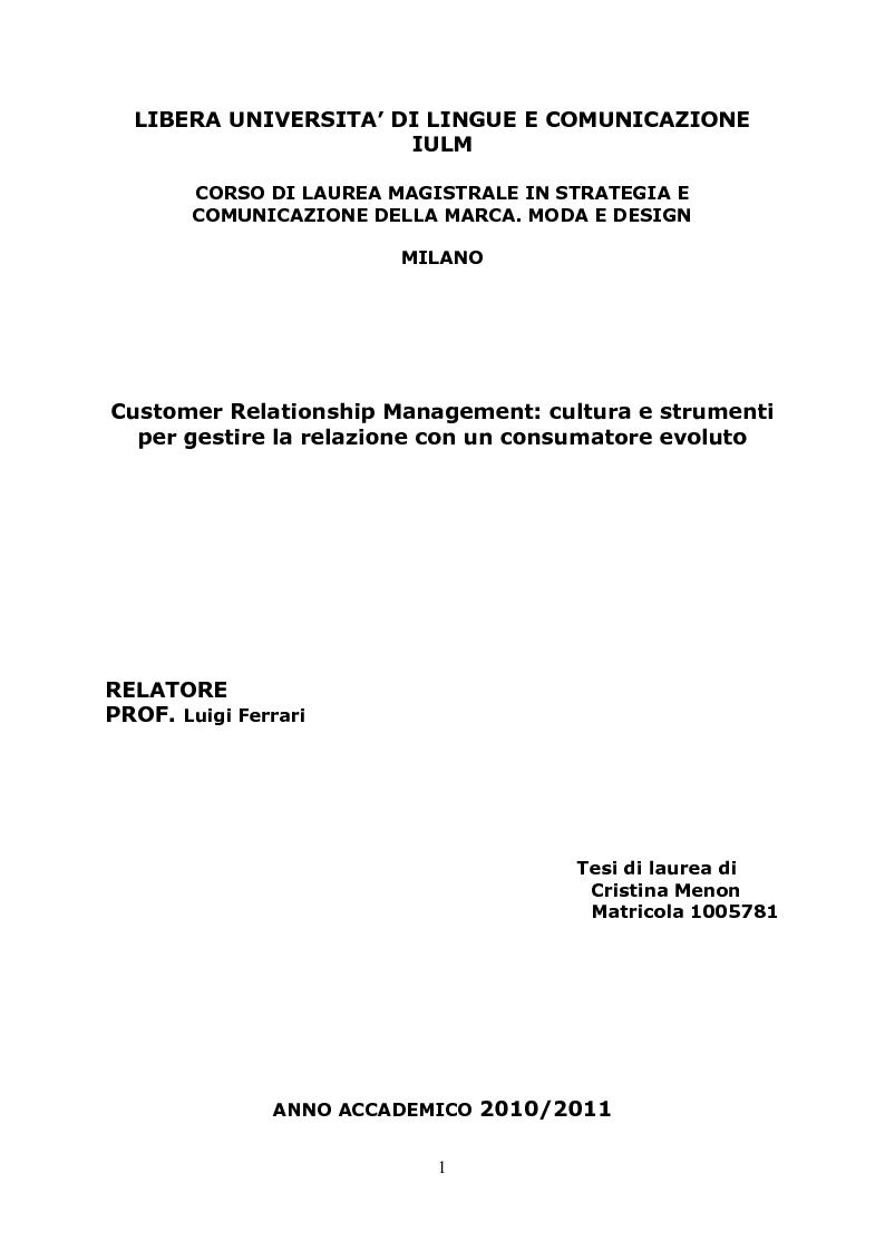 moda e design milano customer relationship management